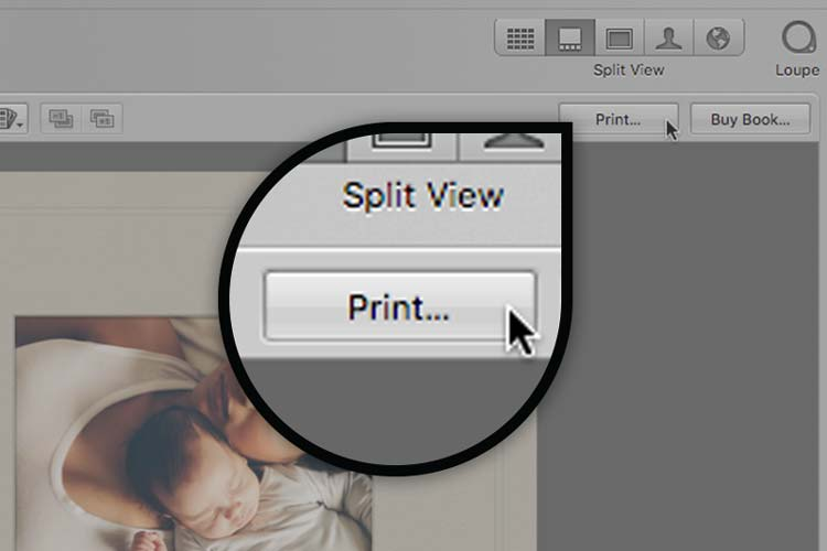 Select Print from the upper right of the Aperture Window