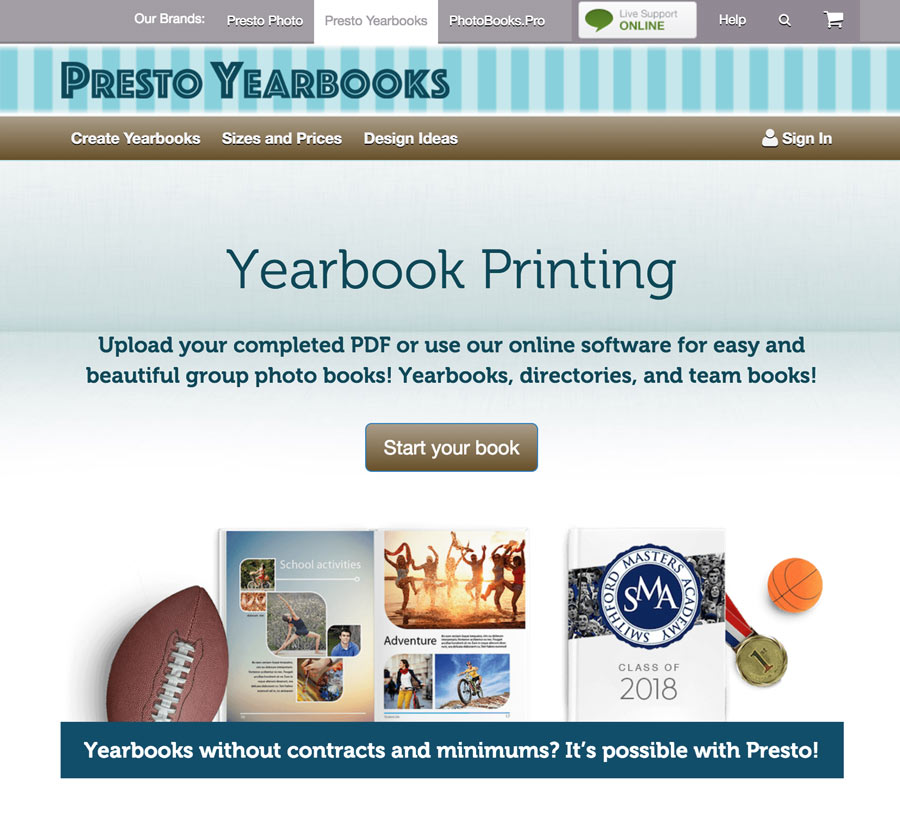 Presto Yearbooks Website Screenshot