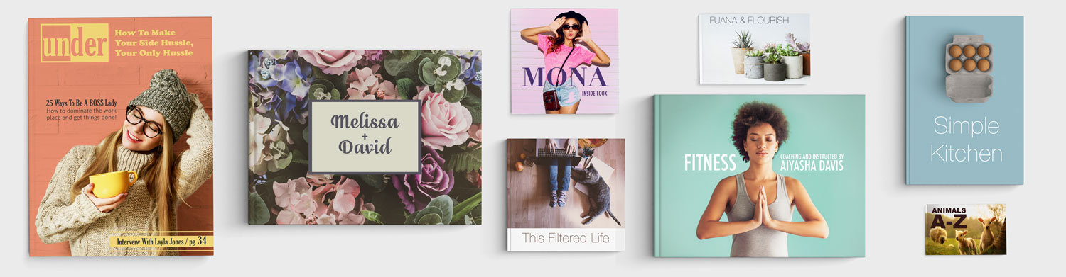 A variety of the photo books Photobooks Pro Offers